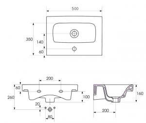 Lavoar Cersanit Moduo 50 CM - Slim (Profunzime 35 CM)3