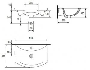 Lavoar Cersanit Omega 65 CM [2]
