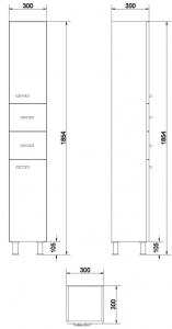 Mobilier Coloana Cersanit Alpina - Alb4
