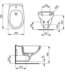 Pachet Complet Bideu Suspendat Ideal Standard Eurovit - Gata de Montaj - Cadru fixare + Bideu + Baterie bideu6