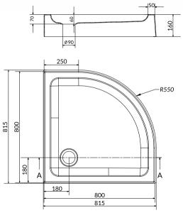 Pachet Complet - Cabina de dus semirotunda Cersanit Basic 80 x 80 + Cadita Cersanit Tako3