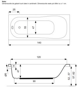 Pachet Complet - Cada Baie Acril Belform Blanca 140x70 + Cadru Metalic + Masca Frontala + Sifon Evacuare3