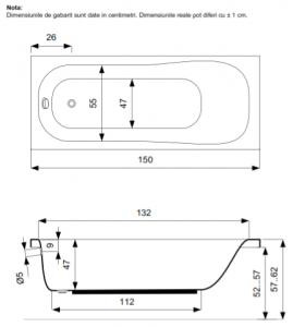 Pachet Complet - Cada Baie Acril Belform Blanca 150x70 + Cadru Metalic + Masca Frontala + Sifon Evacuare3