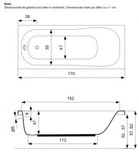 Pachet Complet - Cada Baie Acril Belform Blanca 170x70 + Cadru Metalic + Masca Frontala + Sifon Evacuare3