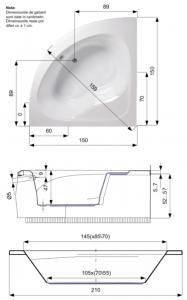 Pachet Complet - Cada Baie Acril Belform Dahlia 150x150 + Cadru Metalic + Masca Frontala + Sifon Evacuare3