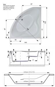 Pachet Complet - Cada Baie Acril Belform Equilibra 140x140 + Cadru Metalic + Masca Frontala + Sifon Evacuare2