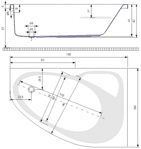 Pachet Complet - Cada Baie Acril Belform Mistika 150x100 COLT DREAPTA + Cadru Metalic + Masca Frontala + Sifon Evacuare [3]