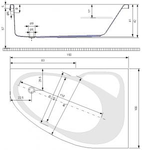 Pachet Complet - Cada Baie Acril Belform Mistika 150x100 COLT STANGA + Cadru Metalic + Masca Frontala + Sifon Evacuare [3]