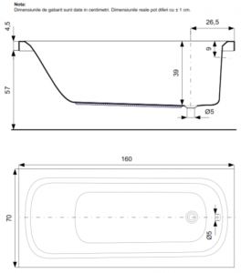 Pachet Complet - Cada Baie Acril Belform Nordica 160x70 cu sistem Hidromasaj S1 + Cadru Metalic + Masca Frontala + Sifon Automat Evacuare3
