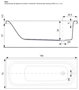 Pachet Complet - Cada Baie Acril Belform Nordica 180x70 cu sistem Hidromasaj si Aeromasaj S3 DuoLight + Cadru Metalic + Masca Frontala + Sifon Automat Evacuare - Iluminare si control digital4