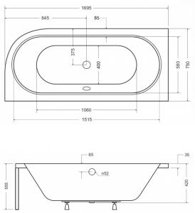 Pachet Complet - Cada Baie Acril Besco Avita 170x75 COLT STANGA + Cadru Metalic + Masca Frontala + Sifon Evacuare [4]