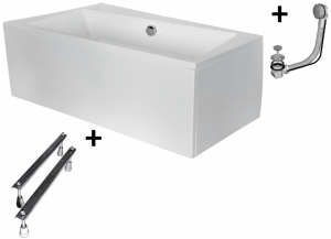 Pachet Complet - Cada Baie Acril Besco Infinity 170x110 COLT STANGA + Cadru Metalic + Masca Frontala + Sifon Evacuare0