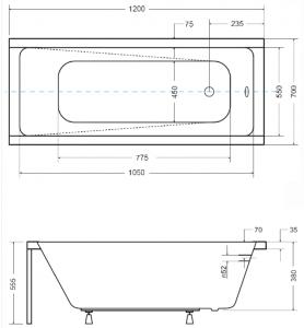 Pachet Complet - Cada Baie Acril Besco Modern 120x70 + Cadru Metalic + Masca Frontala + Masca Laterala + Sifon Evacuare [2]