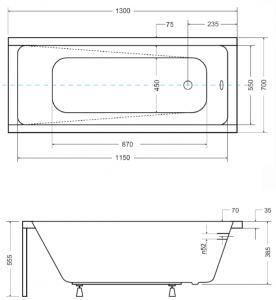 Pachet Complet - Cada Baie Acril Besco Modern 130x70 + Cadru Metalic + Masca Frontala + Masca Laterala + Sifon Evacuare2