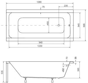 Pachet Complet - Cada Baie Acril Besco Modern 140x70 + Cadru Metalic + Masca Frontala + Masca Laterala + Sifon Evacuare2