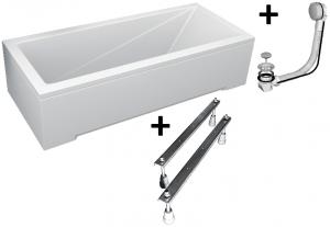 Pachet Complet - Cada Baie Acril Besco Modern 150x70 + Cadru Metalic + Masca Frontala + Masca Laterala + Sifon Evacuare0