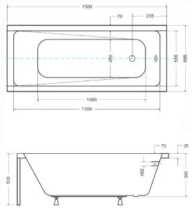 Pachet Complet - Cada Baie Acril Besco Modern 150x70 + Cadru Metalic + Masca Frontala + Masca Laterala + Sifon Evacuare2