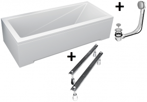Pachet Complet - Cada Baie Acril Besco Modern 170x70 + Cadru Metalic + Masca Frontala + Masca Laterala + Sifon Evacuare0