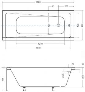 Pachet Complet - Cada Baie Acril Besco Modern 170x70 + Cadru Metalic + Masca Frontala + Masca Laterala + Sifon Evacuare2