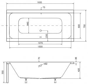Pachet Complet - Cada Baie Acril Besco Quadro 165x75 + Cadru Metalic + Masca Frontala + Masca Laterala + Sifon Evacuare2