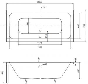 Pachet Complet - Cada Baie Acril Besco Quadro 170x75 + Cadru Metalic + Masca Frontala + Masca Laterala + Sifon Evacuare [2]