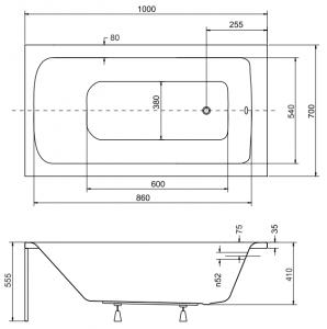 Pachet Complet - Cada Baie Acril Besco Talia 100x70 + Cadru Metalic + Masca Frontala + Masca Laterala + Sifon Evacuare [4]