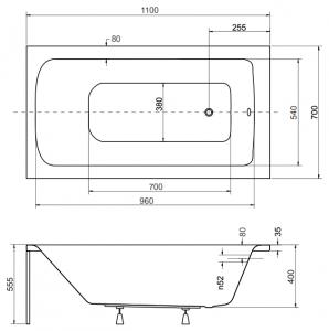 Pachet Complet - Cada Baie Acril Besco Talia 110x70 + Cadru Metalic + Masca Frontala + Masca Laterala + Sifon Evacuare4