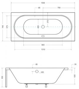 Pachet Complet - Cada Baie Acril Besco Vitae 150x75 + Cadru Metalic + Masca Frontala + Masca Laterala + Sifon Evacuare [4]