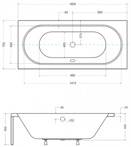 Pachet Complet - Cada Baie Acril Besco Vitae 160x75 + Cadru Metalic + Masca Frontala + Masca Laterala + Sifon Evacuare [4]