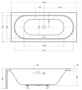 Pachet Complet - Cada Baie Acril Besco Vitae 170x75 + Cadru Metalic + Masca Frontala + Masca Laterala + Sifon Evacuare [4]