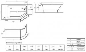 Pachet Complet - Cada Baie Acril Fibrocom Extensy 150x100 COLT DREAPTA + Cadru Metalic + Masca Frontala + Sifon Evacuare5
