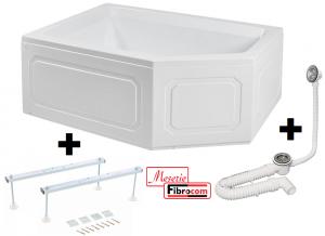 Pachet Complet - Cada Baie Acril Fibrocom Extensy 150x100 COLT DREAPTA + Cadru Metalic + Masca Frontala + Sifon Evacuare0