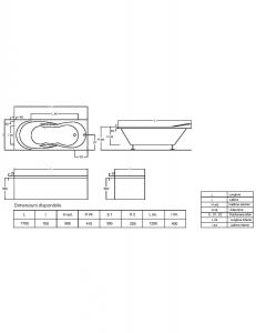 Pachet Complet - Cada Baie Acril Fibrocom Galas 170x70 + Cadru Metalic + Masca Frontala + Sifon Evacuare4