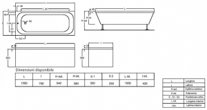 Pachet Complet - Cada Baie Acril Fibrocom Mikass 150x70 + Cadru Metalic + Masca Frontala + Sifon Evacuare [3]