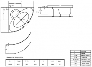Pachet Complet - Cada Baie Acril Fibrocom Palas 150x150 + Cadru Metalic + Masca Frontala + Sifon Evacuare [4]