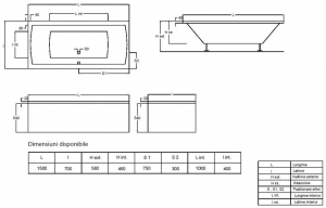 Pachet Complet - Cada Baie Acril Fibrocom Simplis 150x70 + Cadru Metalic + Masca Frontala + Sifon Evacuare3