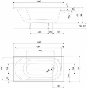 Pachet Complet - Cada Baie Acril Kolo Opal Plus 140x70 + Cadru Metalic + Masca Frontala MDF + Sifon Evacuare3