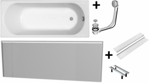 Pachet Complet - Cada Baie Acril Kolo Opal Plus 150x70 + Cadru Metalic + Masca Frontala MDF + Sifon Evacuare0