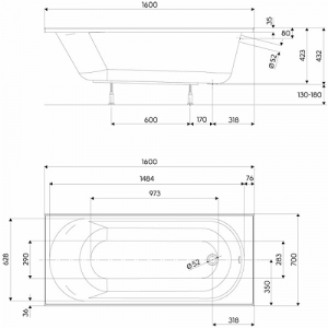 Pachet Complet - Cada Baie Acril Kolo Opal Plus 160x70 + Cadru Metalic + Masca Frontala MDF + Sifon Evacuare3