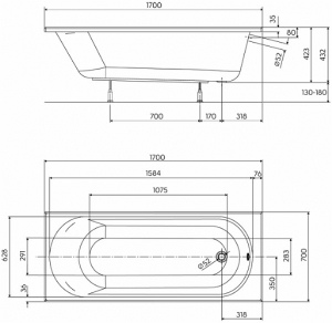 Pachet Complet - Cada Baie Acril Kolo Opal Plus 170x70 + Cadru Metalic + Masca Frontala MDF + Sifon Evacuare3