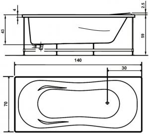 Pachet Complet - Cada Baie Acril WEST Co Paula 140x70 + Cadru Metalic + Masca Frontala + Sifon Evacuare [2]