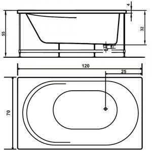 Pachet Complet - Cada Baie Acril WEST Co Rose 120x70 + Cadru Metalic + Masca Frontala + Sifon Evacuare2