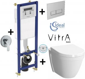 Pachet Complet Sistem WC cu Bideu Suspendat Vitra S50 RimEX - Gata de Montaj - Cadru fixare + Rezervor Ingropat, Clapeta Crom, Vas WC cu functie de bideu, Sistem complet baterie incastrata bideu si Ca0