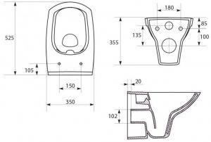 Pachet Complet Sistem WC Suspendat Cersanit Carina CLeanON - Gata de Montaj - Cadru fixare + Rezervor Ingropat, Clapeta Crom, Vas WC si Capac WC SoftClose8