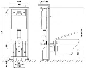 Pachet Complet Sistem WC Suspendat Cersanit Carina CLeanON - Gata de Montaj - Cadru fixare + Rezervor Ingropat, Clapeta Crom, Vas WC si Capac WC SoftClose9