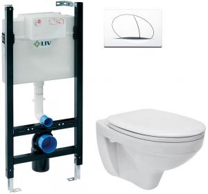 Pachet Complet Sistem WC Suspendat Cersanit Delphi - Gata de Montaj - Cadru fixare + Rezervor Ingropat, Clapeta Alba, Vas WC si Capac WC0