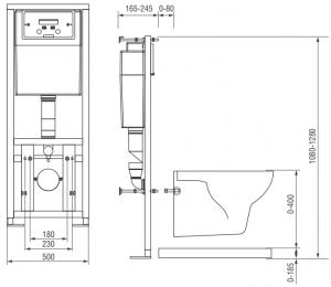 Pachet Complet Sistem WC Suspendat Cersanit Delphi - Gata de Montaj - Cadru fixare + Rezervor Ingropat, Clapeta Alba, Vas WC si Capac WC6