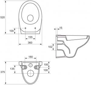 Pachet Complet Sistem WC Suspendat Cersanit Delphi - Gata de Montaj - Cadru fixare + Rezervor Ingropat, Clapeta Alba, Vas WC si Capac WC7
