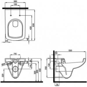 Pachet Complet Sistem WC Suspendat Geberit + Kolo Nova PRO Rimfree - Gata de Montaj - Cadru fixare + Rezervor Ingropat, Clapeta Crom, Vas WC si Capac WC  Softclose12