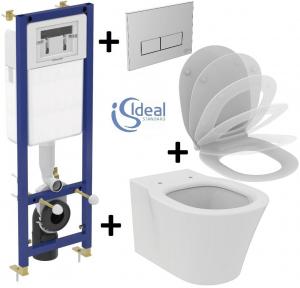 Pachet Complet Sistem WC Suspendat Ideal Standard Connect Air Aquablade - Gata de Montaj - Cadru fixare + Rezervor Ingropat, Clapeta Crom, Vas WC si Capac WC Softclose0